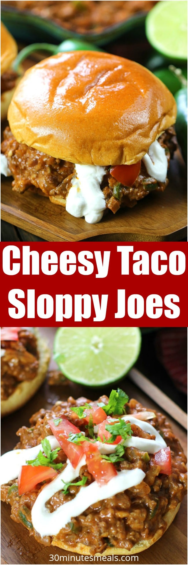 Cheesy Taco Sloppy Joes are one of the easiest and most delicious dinners you will ever make. Bonus points for being made in a one pan in less than 30 minutes.