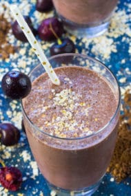 Chocolate Cherry Smoothie is a delicious combo of sweet, tart, creamy and chocolaty in a healthy drink that tastes like an indulgent dessert.