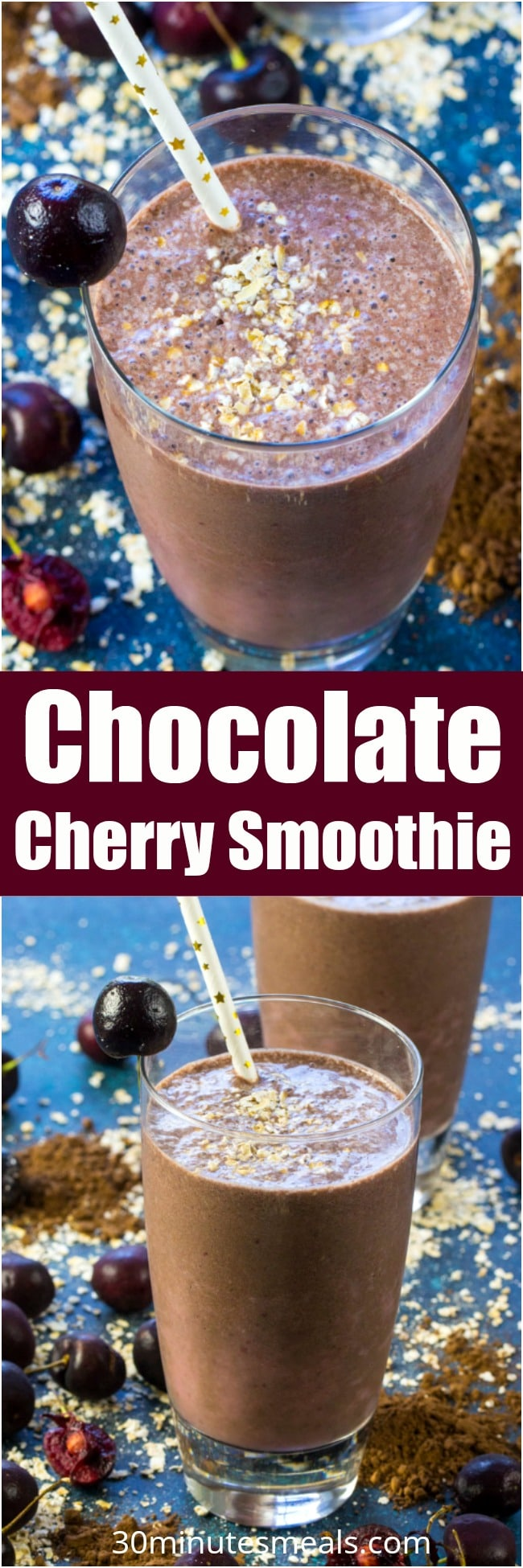Chocolate Cherry Smoothie is a delicious combo of sweet, tart, creamy and chocolaty in a healthy drink that tastes like an indulgent dessert. Vegan and gluten free, extra filling with oats blended in.