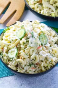 Crunchy Coleslaw Pasta Salad made with creamy Ranch is the perfect summer side dish. Can be also made ahead of time.