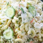 Coleslaw Pasta Salad made with creamy Ranch is the perfect summer side dish. Crunchy and refreshing, can be also made ahead of time.