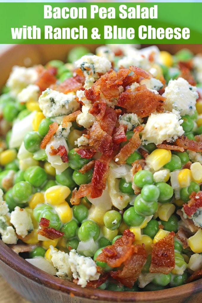 Ranch Bacon Pea Salad is the perfect summery side dish. Made with creamy ranch, lots of blue cheese and delicious, crispy bacon.