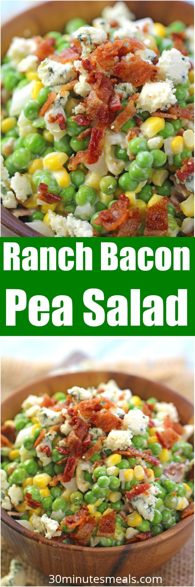 Ranch Bacon Pea Salad is the perfect summer salad. Made with creamy ranch, lots of blue cheese and delicious, crispy bacon.