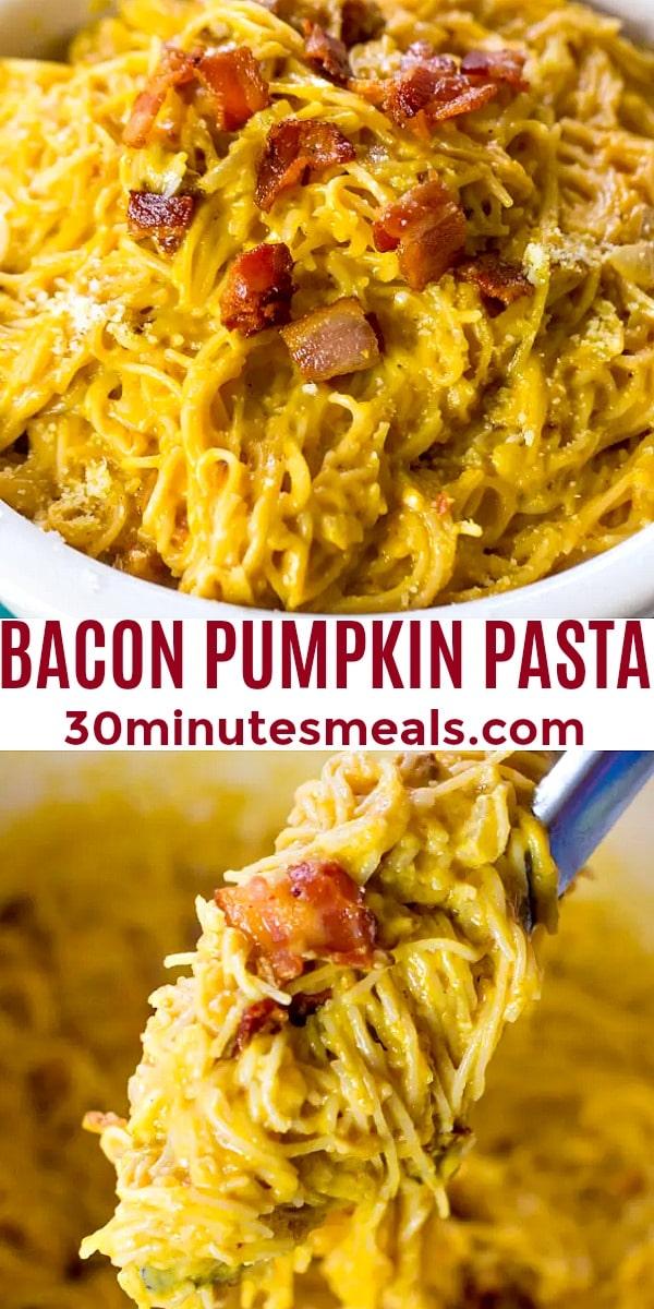 easy bacon pumpkin pasta pin