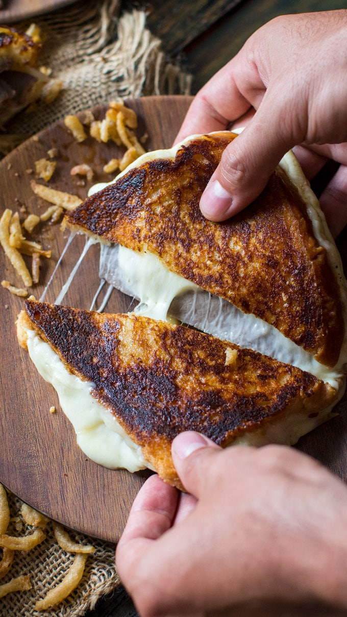 French Dip Grilled Cheese Sandwich is perfect for dinner, parties or game nights! Serve with the dipping sauce on the side and french fried onions.