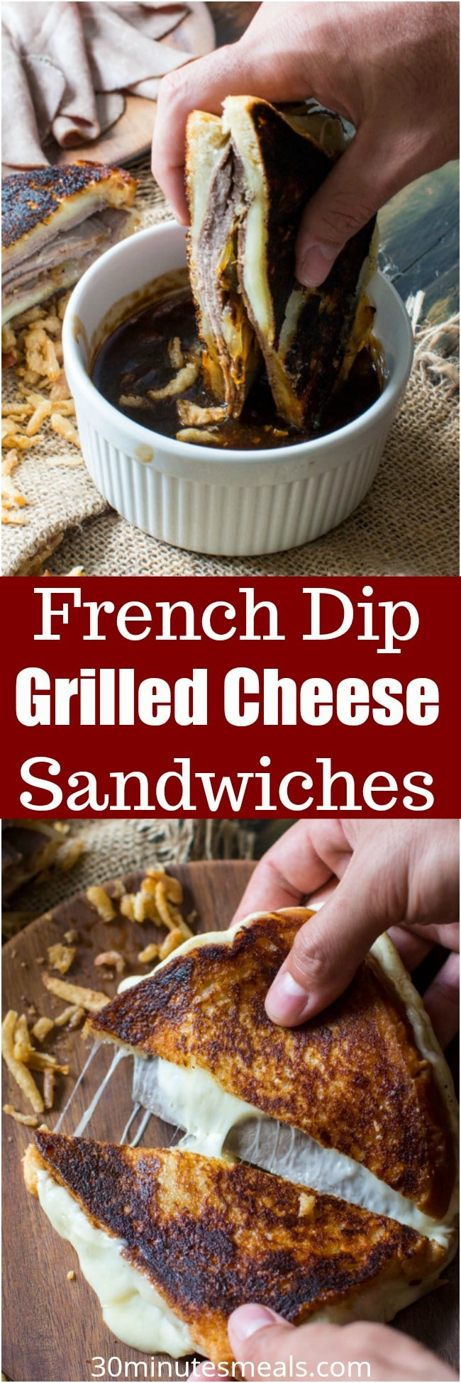 French Dip Grilled Cheese Sandwich is perfect for dinner, parties or game nights! Serve with the dipping sauce on the side for the ultimate, amazing flavor!