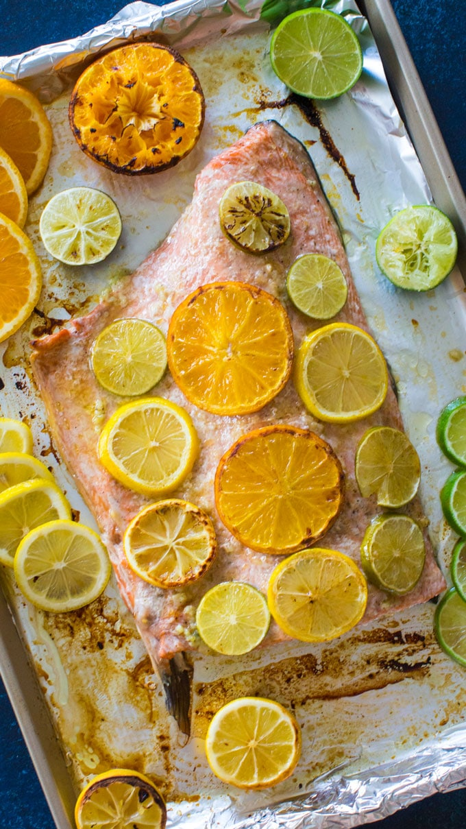 Easy One Pan Honey Citrus Salmon takes only 30 minutes to make.This healthy meal is a great combo of sweet and savory and refreshing citrus flavor.