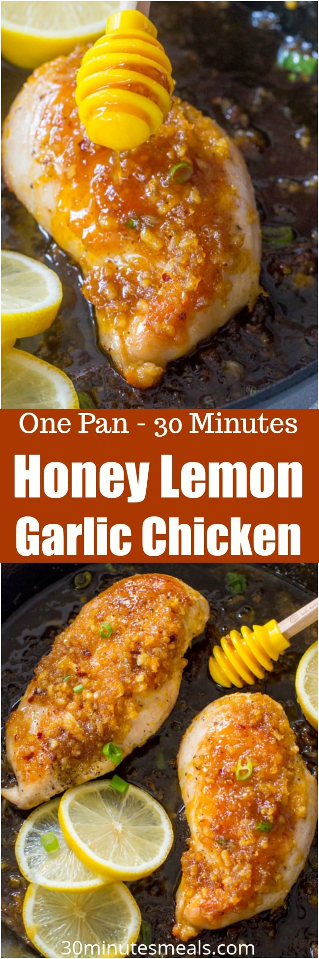 Honey Lemon Garlic Chicken is such a juicy meal made easy in one pan in 30 minutes. Perfectly sticky, aromatic and refreshing, this meal is always a hit.