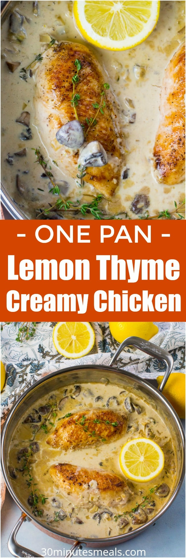 Creamy Lemon Thyme Chicken is made with white wine, lemon zest, cream, mushrooms and thyme. Made in one pan in just 30 minutes.