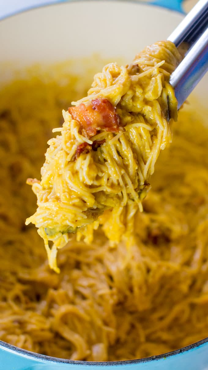 Pumpkin Pasta with bacon is creamy and delicious, easily made in one pot in 30 minutes or less.