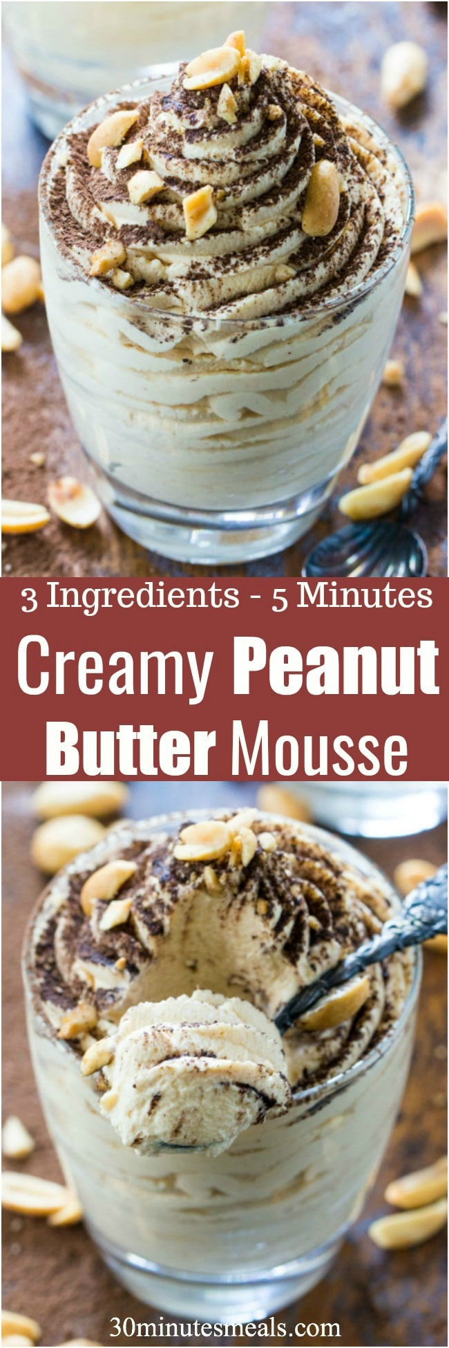 Easy Peanut Butter Mousse is made with just 3 ingredients in less than 5 minutes. Perfect to tame a quick peanut butter craving!