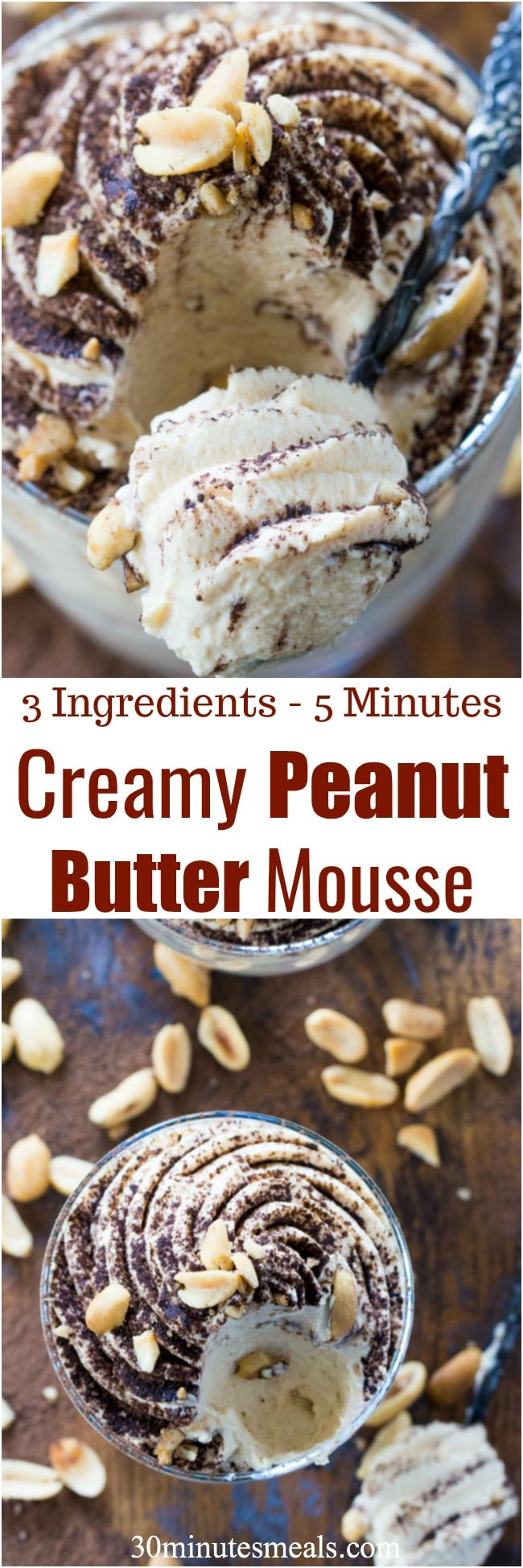 Creamy Peanut Butter Mousse is made with just 3 ingredients in less than 5 minutes. Perfect to fix a quick peanut butter craving!