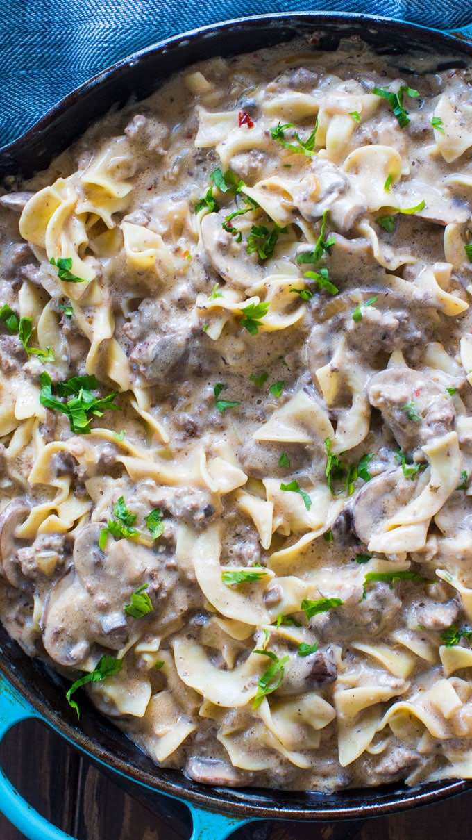 The best Ground Beef Stroganoff is so unbelievably creamy thanks to a few secret ingredients. Easy to make, in just 30 minutes you have an amazing dinner!