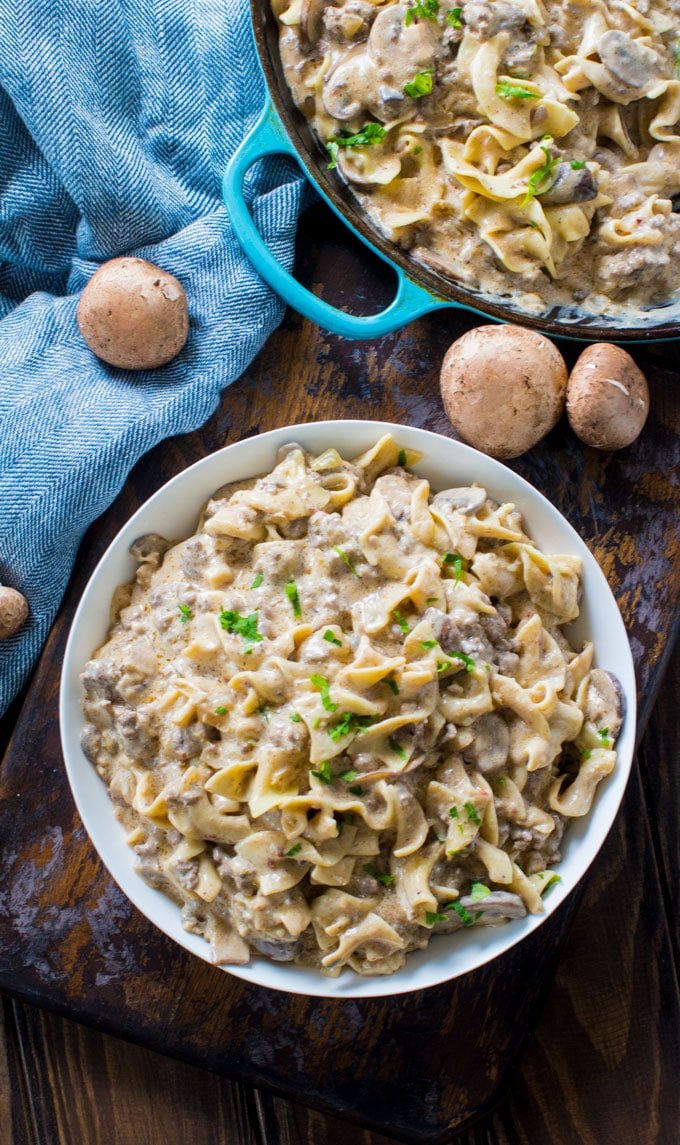 Ground Beef Stroganoff is so unbelievably creamy thanks to a few secret ingredients. Easy to make, in just 30 minutes you have an amazing dinner!