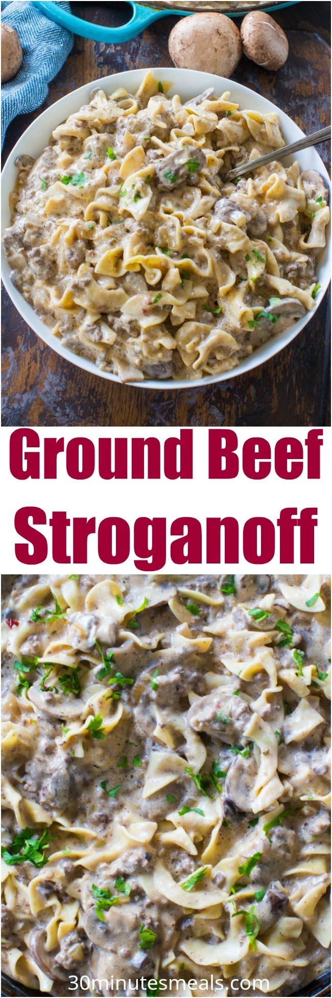 Easy Ground Beef Stroganoff is so unbelievably creamy thanks to a few secret ingredients. Easy to make, in just 30 minutes you have an amazing dinner!