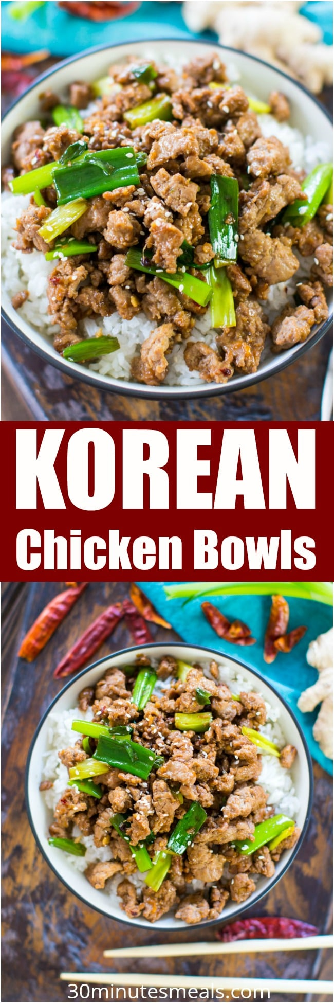 Korean Chicken Bowls are one of the easiest and tastiest dishes you can make in just under 20 minutes. Made in one pan with easy ingredients.