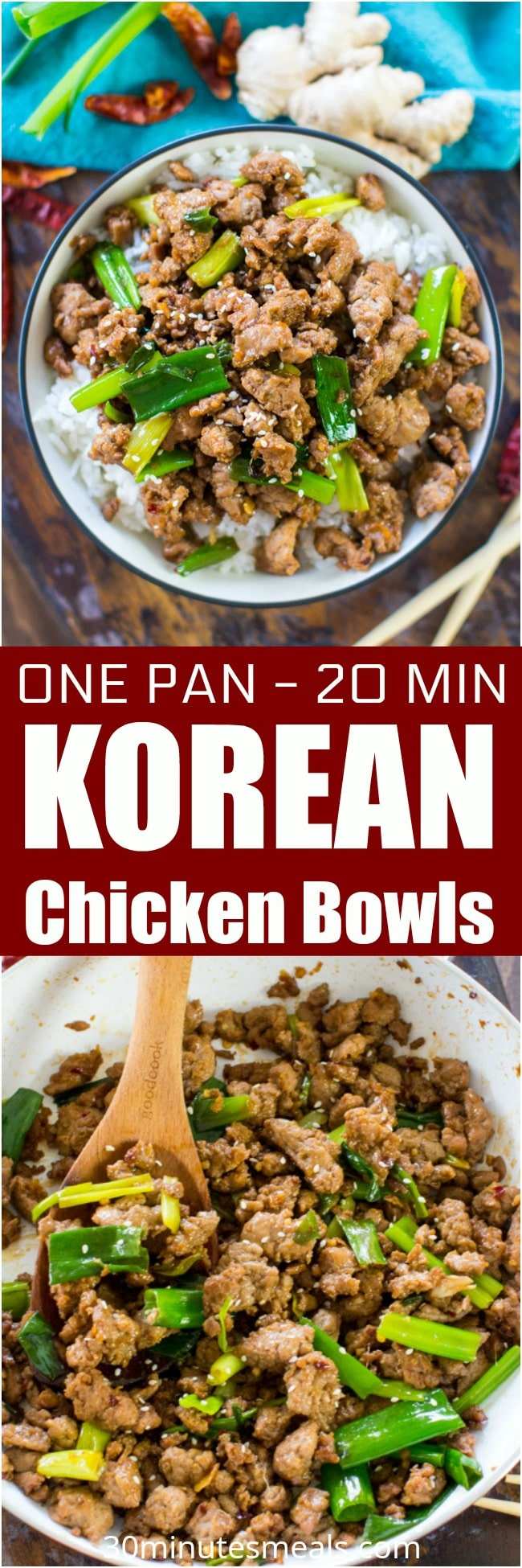One Pan Korean Chicken Bowls are one of the easiest and tastiest dishes you can make in just under 20 minutes.