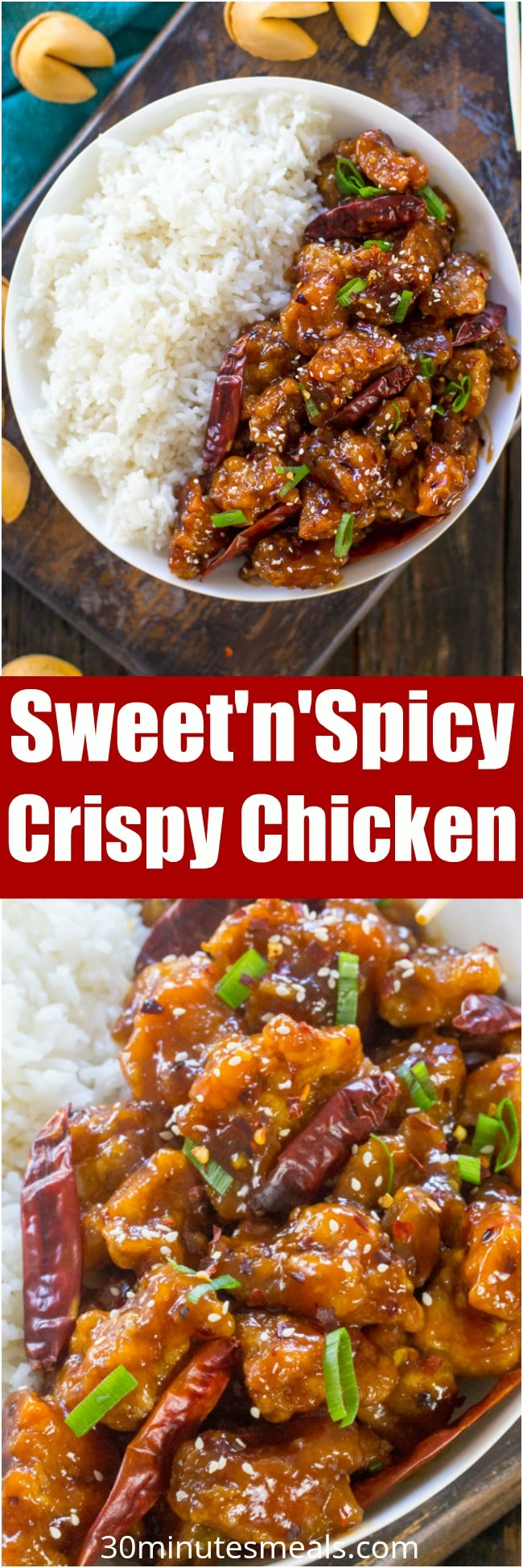 Sweet and Spicy Chicken is perfectly crispy and coated in the most delicious, sweet, sticky and spicy sauce. Make it in one pan in 30 minutes only!