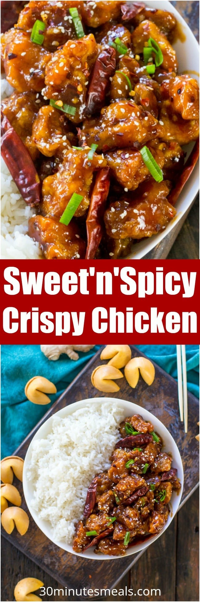 Sweet and Spicy Chicken is perfectly crispy and coated in the most delicious, sweet, sticky and spicy sauce. Make it in one pan in 30 mins only!