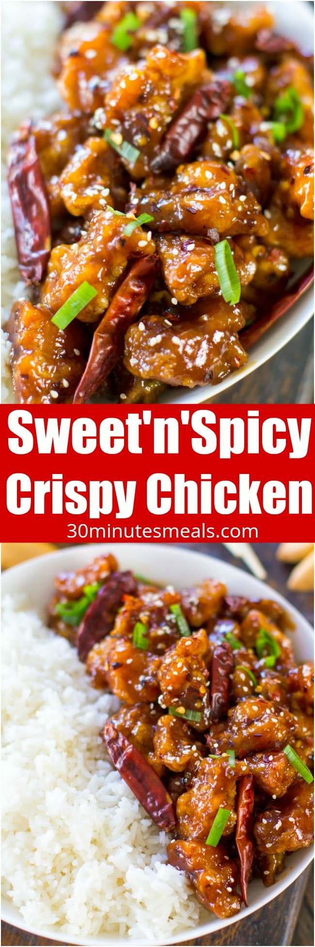 Sweet and Spicy Chicken is perfectly crispy and coated in the most delicious, sweet, sticky and spicy sauce. Made in 30 minutes only!