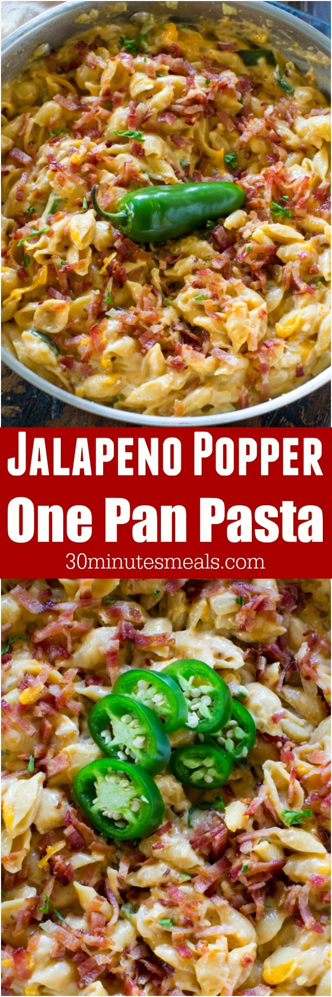 Jalapeño Popper Pasta with bacon, cheddar cheese and cream cheese is tasty, full of flavor and easily made in just one pan.