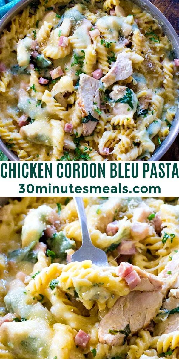 easy chicken cordon bleu pasta pin