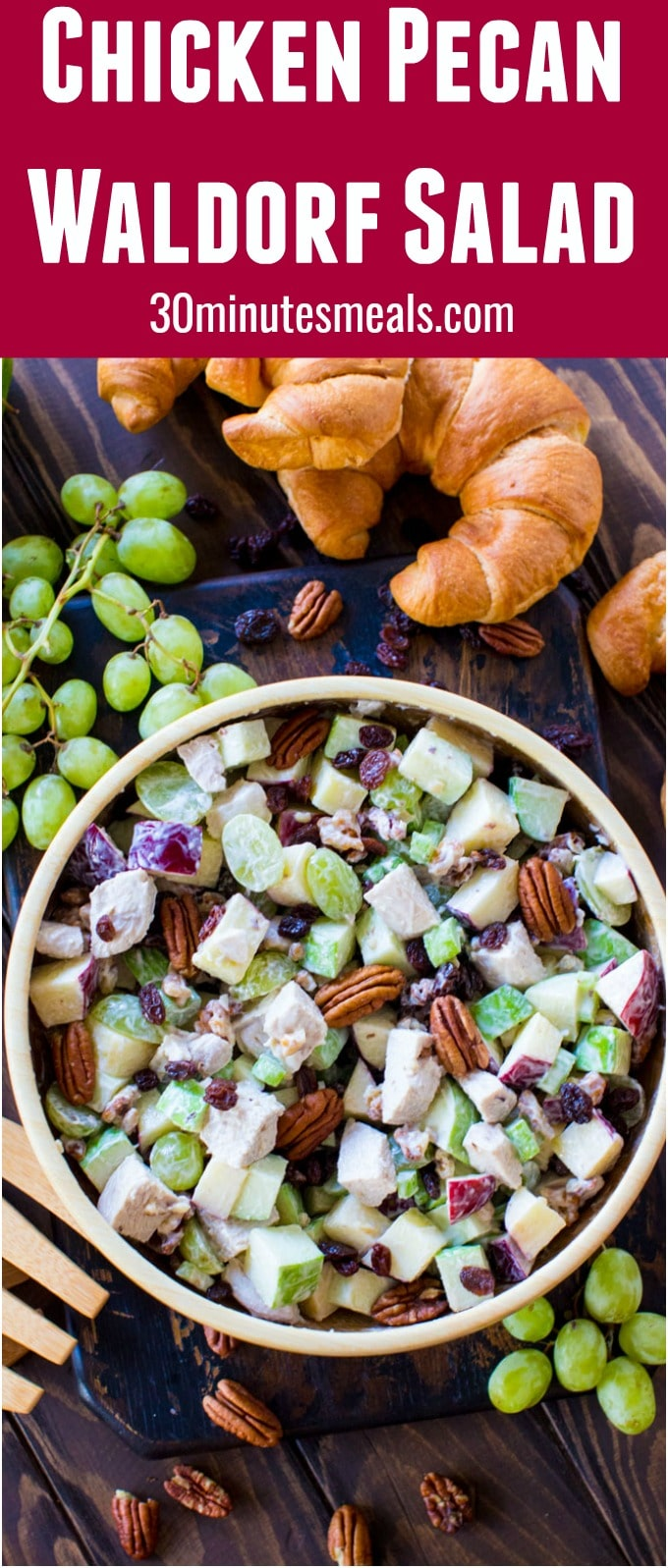 Crunchy Chicken Waldorf Salad is the perfect combination of sweet and savory. Crispy apples, juicy grapes and crunchy nuts are combined to create the perfect bite!