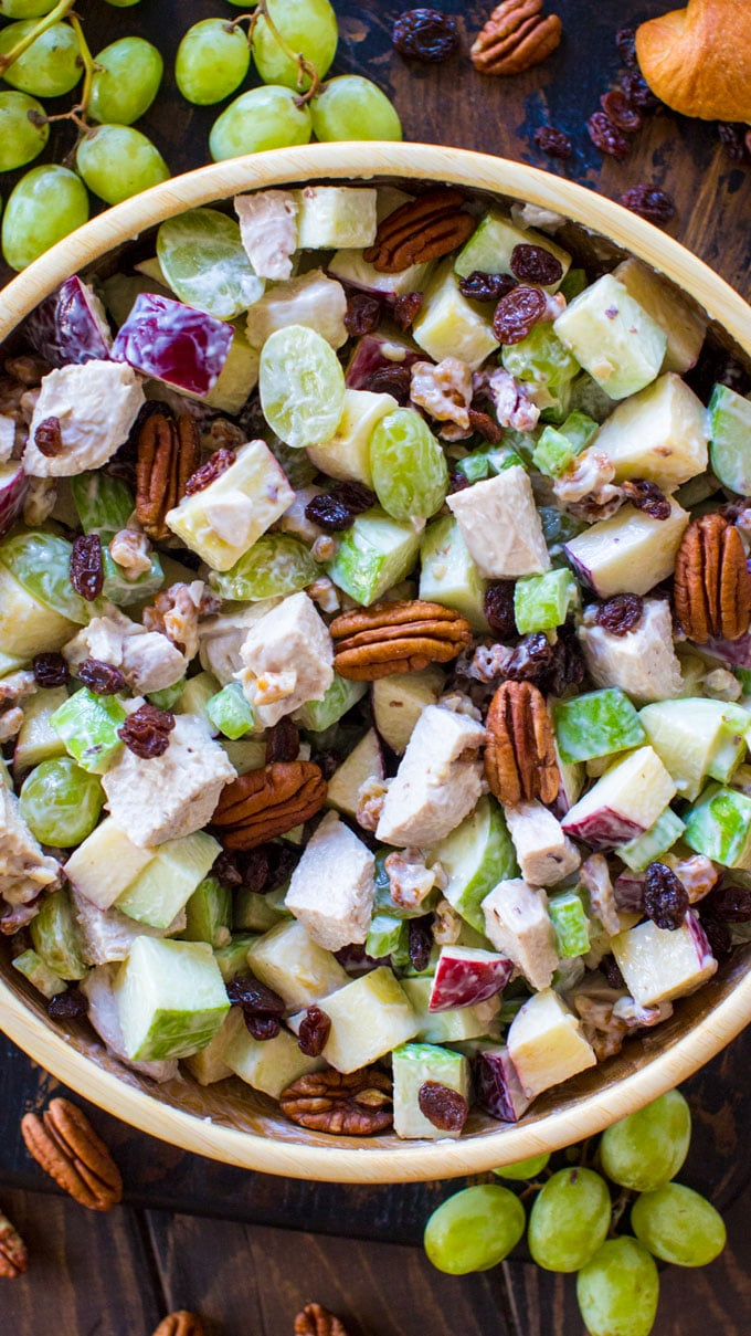 Easy Chicken Waldorf Salad is the perfect combination of sweet and savory. Crispy apples, juicy grapes and crunchy nuts are combined to create the perfect bite!