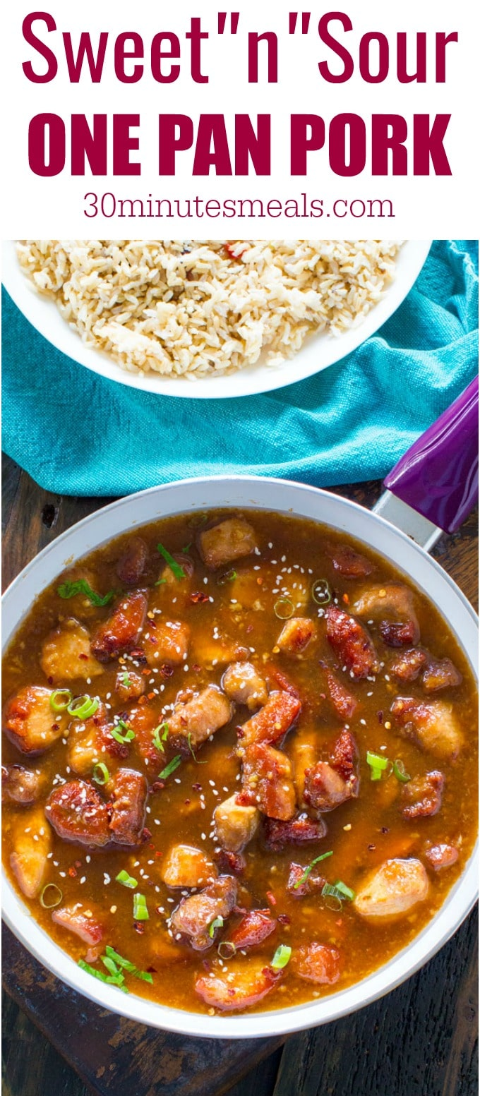 Sweet and Sour Pork is a restaurant quality meal that can be easily made at home in one pan with budget friendly ingredients.