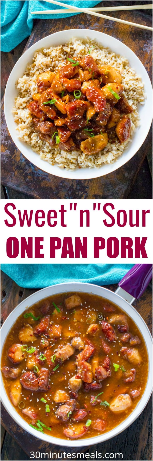 Sweet and Sour Pork is a restaurant quality meal that can be easily made at home in one pan. Crispy, sweet, sour and made with budget friendly ingredients.