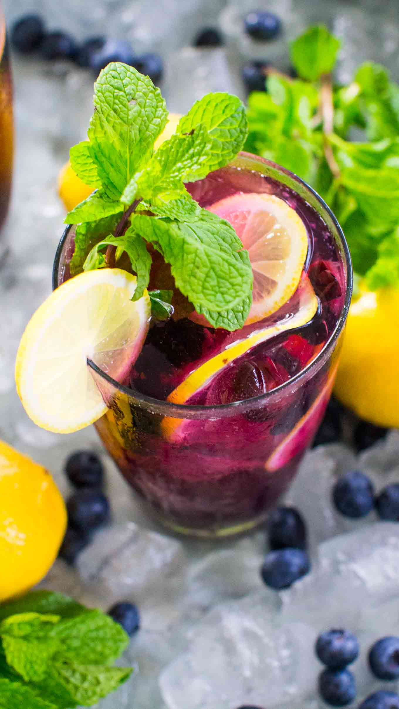 Pretty and refreshing Blueberry Lemonade tastes delicious and refreshing year round. Made easy with sweet blueberry simple syrup and fresh lemon juice.