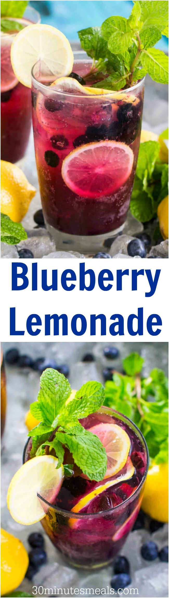 Blueberry Lemonade tastes delicious and refreshing year round. Made easy with sweet blueberry simple syrup and fresh lemon juice.