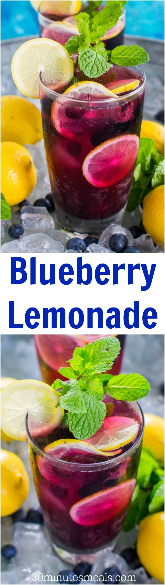 Sweet and refreshing Blueberry Lemonade tastes delicious and refreshing year round. Made easy with sweet blueberry simple syrup and fresh lemon juice.