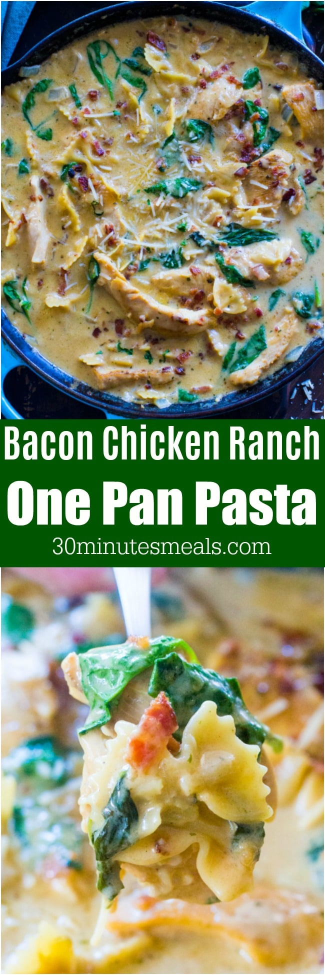 30 Minute Chicken Bacon Ranch Pasta made in one pan, is the perfect, creamy and comforting weeknight meal for busy families.