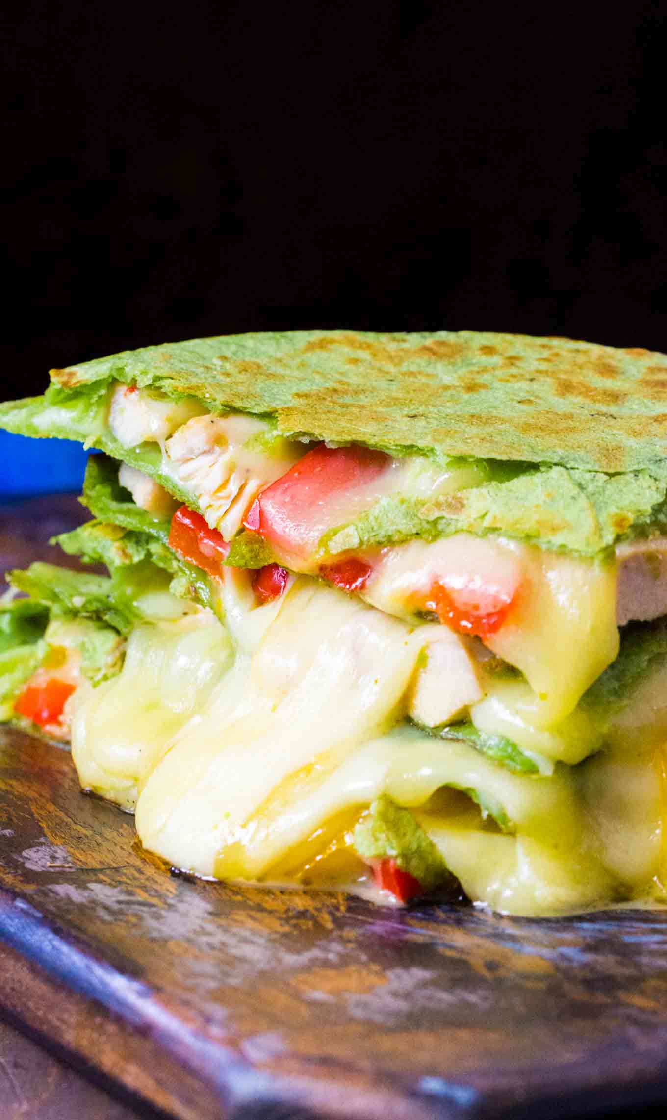Skillet Chicken Fajita Quesadilla is loaded with juicy and tender chicken meat, crunchy bell peppers and lots of delicious, melting cheese.