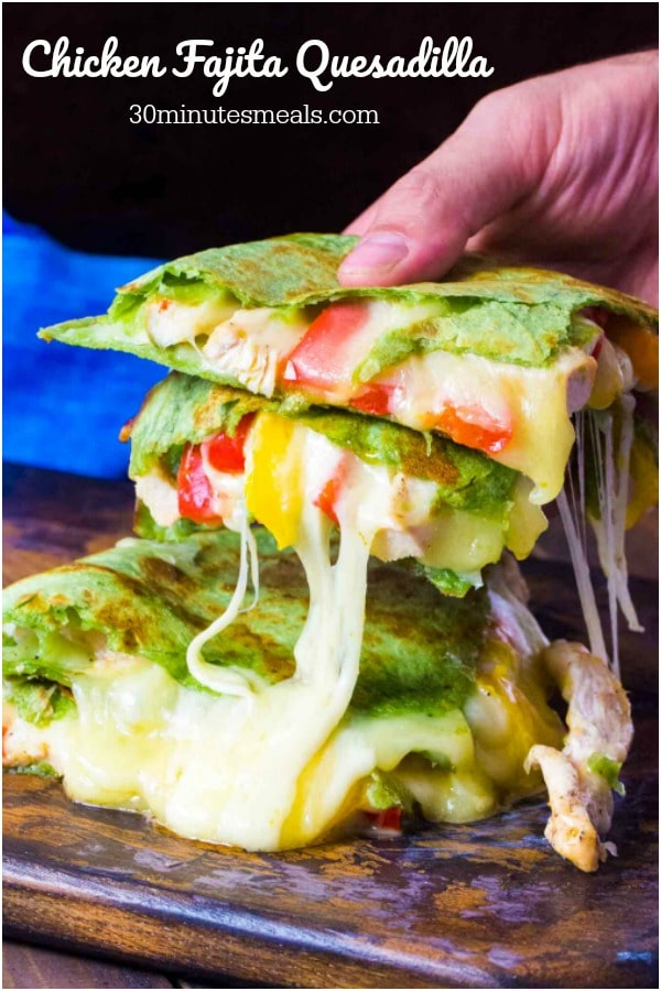 Chicken Fajita Quesadilla is loaded with juicy and tender chicken meat, crunchy bell peppers and lots of delicious, melting cheese.
