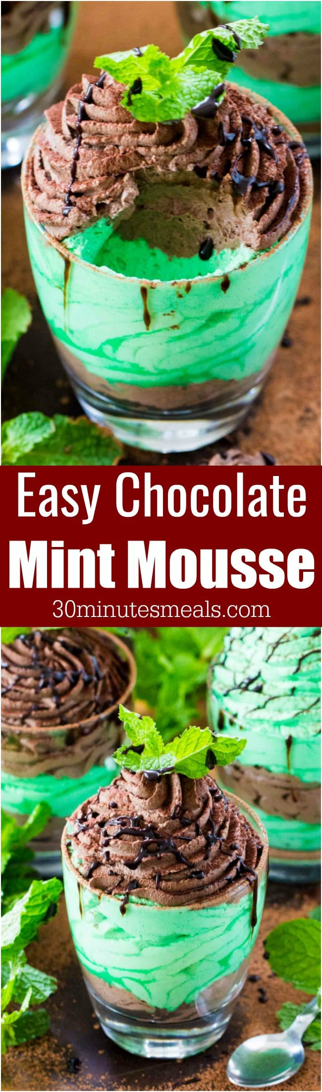 Chocolate Mint Mousse made with just a few ingredients is a flavorful and creamy take on the classic, more labor intensive mousse.