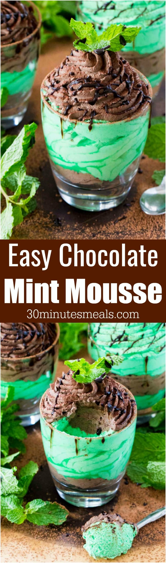 Easy Chocolate Mint Mousse made with just a few ingredients is a flavorful and creamy take on the classic, more labor intensive mousse.