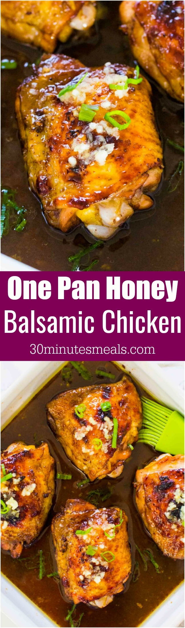 Honey Balsamic Chicken is very juicy and tender, coated in a tasty sweet and slightly tangy sauce, made in one pan in 30 minutes only!