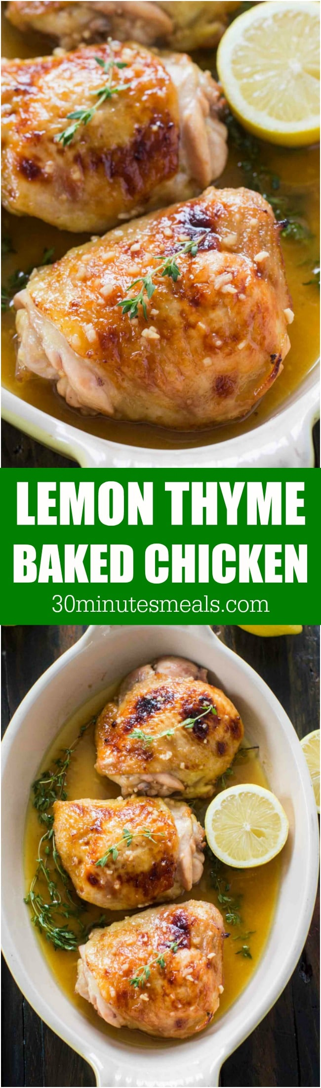 Baked Lemon Thyme Chicken made with just a few ingredients, with a sweet and savory flavor, ready in just 30 minutes in one pan!