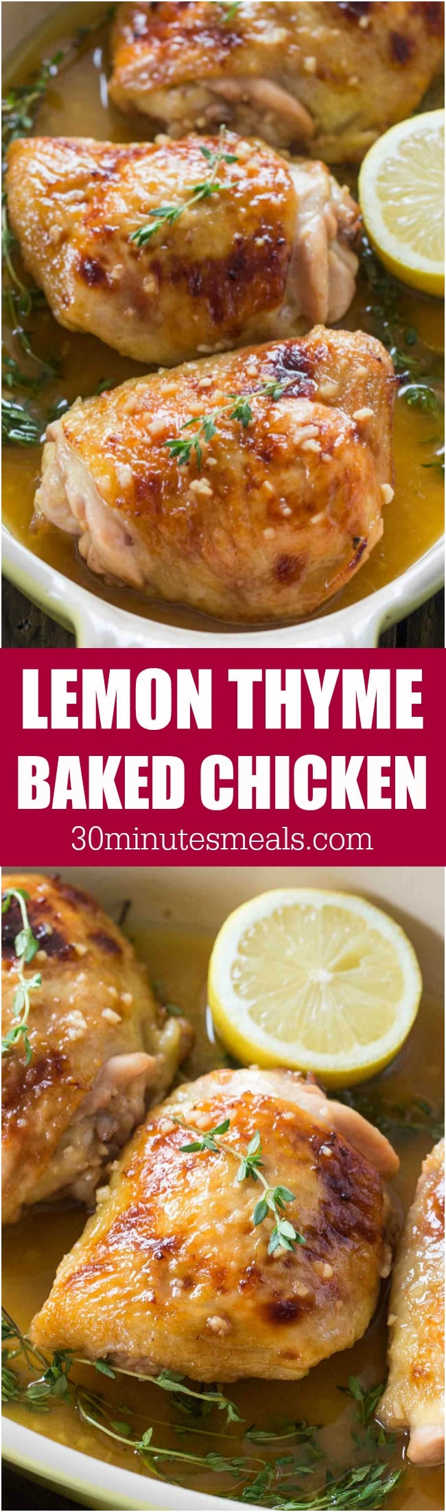 Lemon Thyme Chicken made with just a few ingredients, with a sweet and savory flavor, ready in just 30 minutes in one pan!