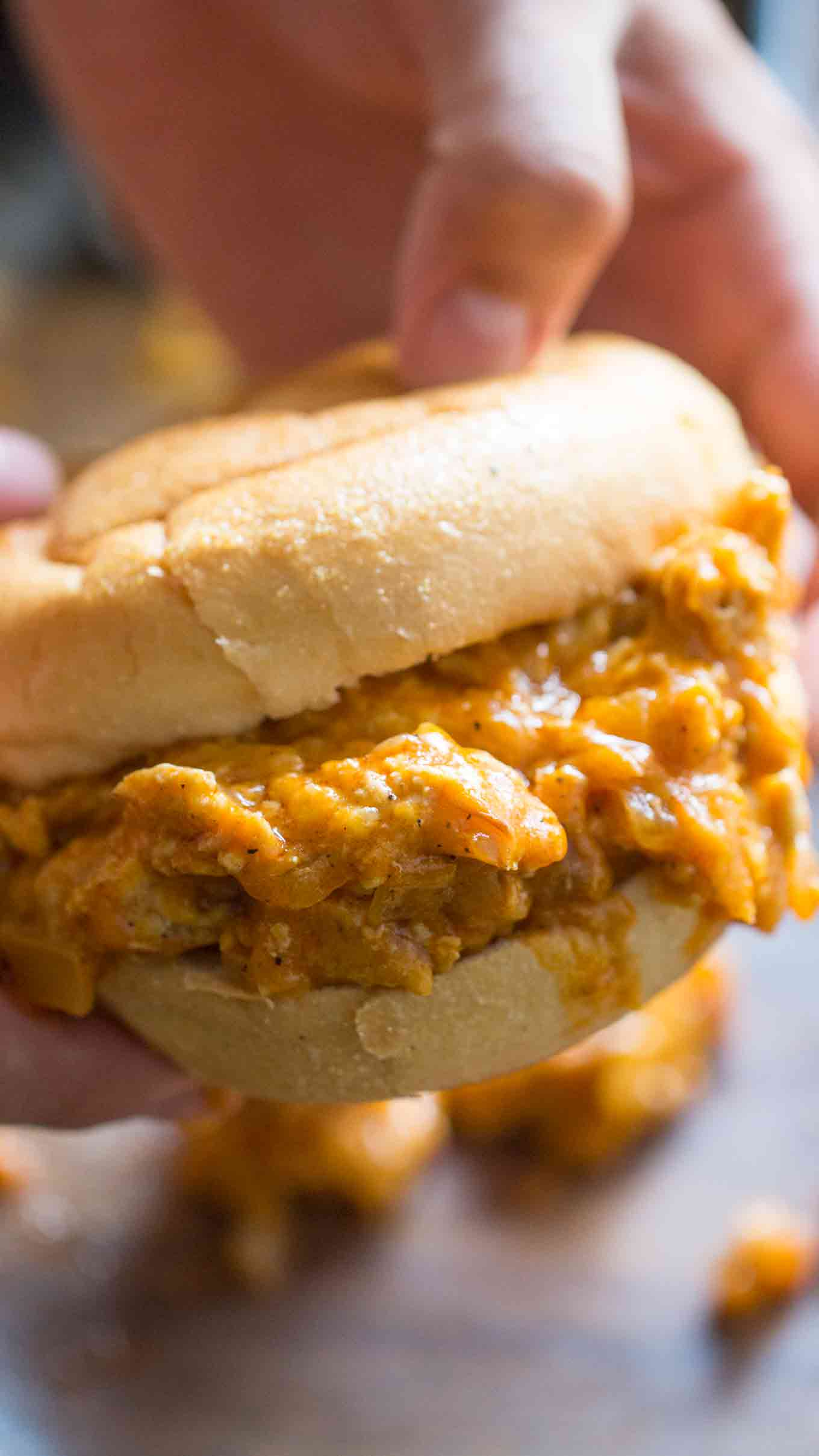 Buffalo Chicken Sloppy Joes made with just a few ingredients in one pan in just 30 minutes, are cheesy and perfectly hot.