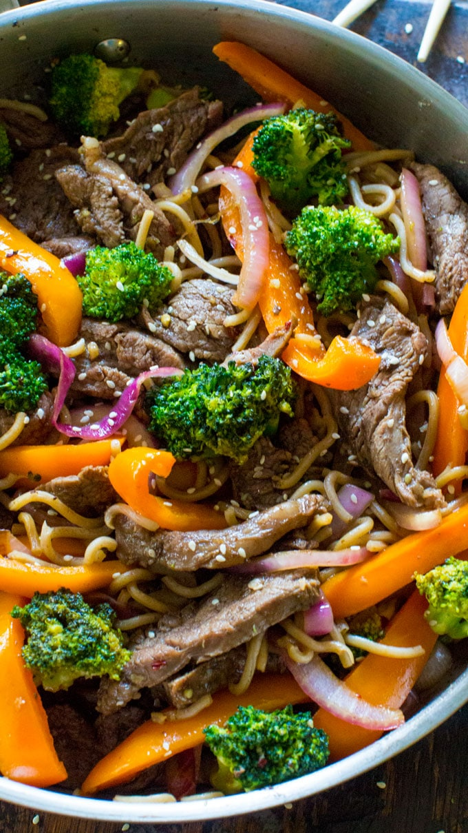 One Pan Skinny Mongolian Beef Noodles are loaded with lot veggies, protein in a delicious, light mongolian sauce, served over soba noodles.