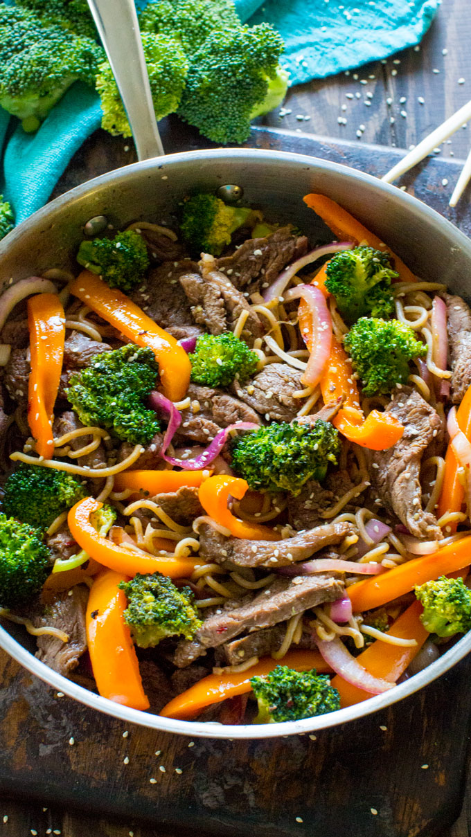 Easy Skinny Mongolian Beef Noodles are loaded with lot veggies, protein in a delicious, light mongolian sauce, served over soba noodles.