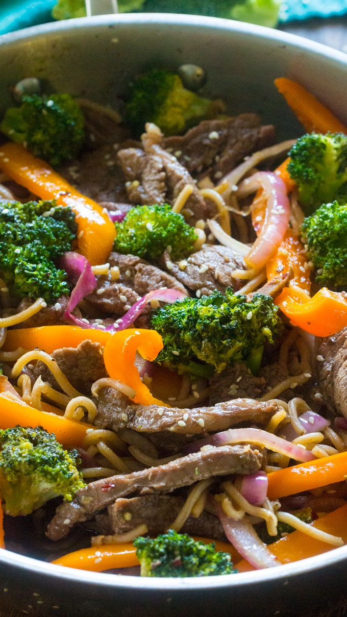 30 Minute Skinny Mongolian Beef Noodles are loaded with lot veggies, protein in a delicious, light mongolian sauce, served over soba noodles.