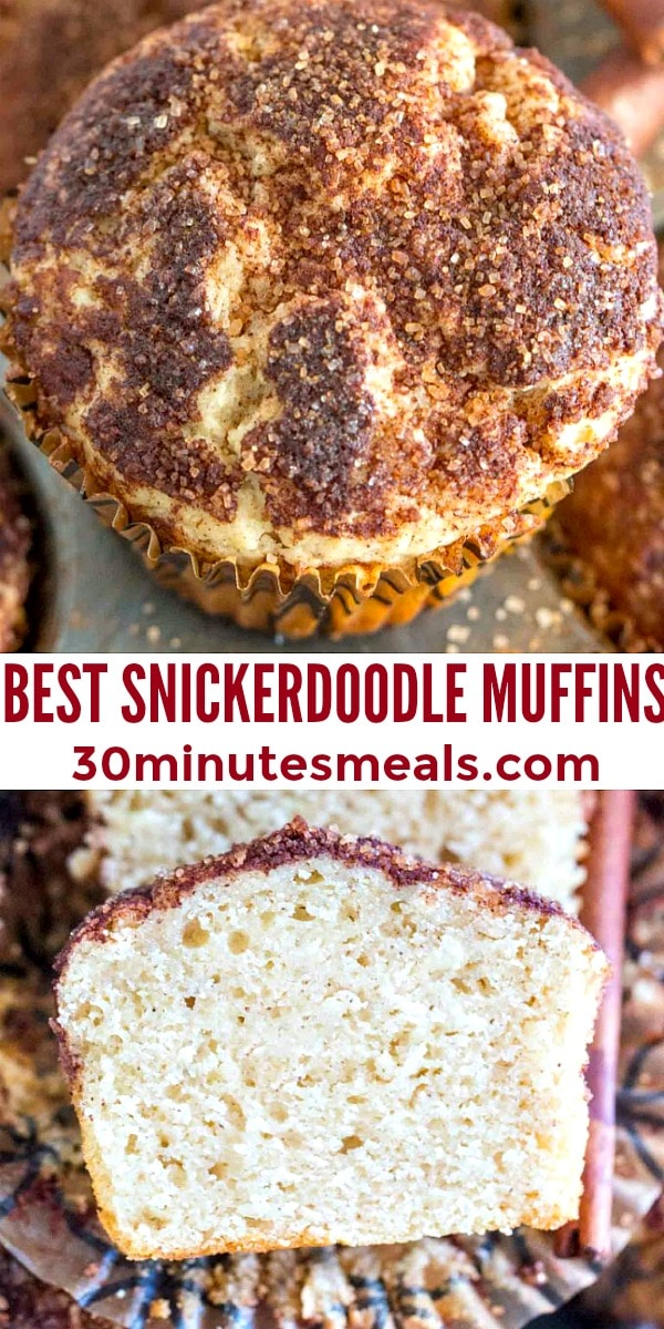 easy snickerdoodle muffins pin