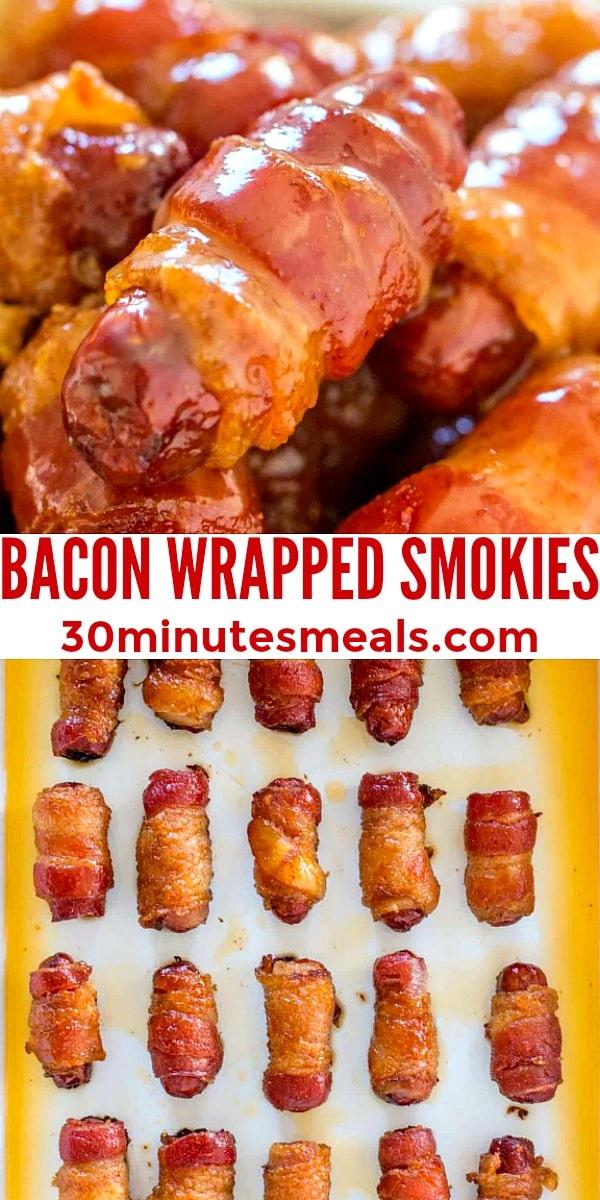 Easy Bacon Wrapped Smokies pin