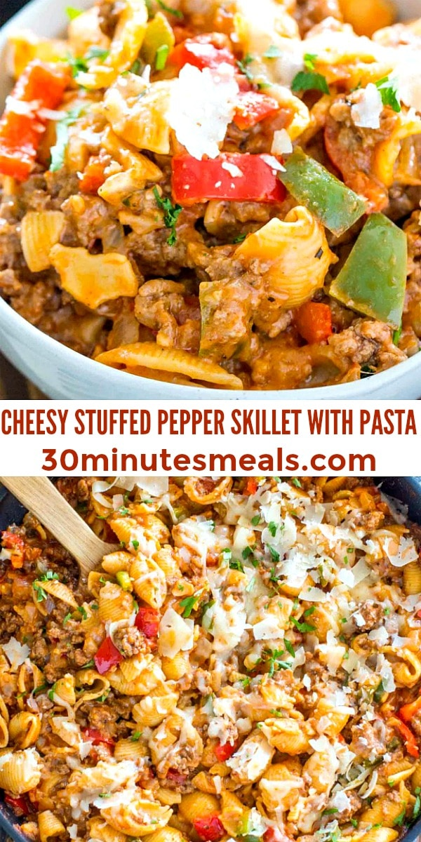 Easy Cheesy Stuffed Pepper Skillet Pasta pin