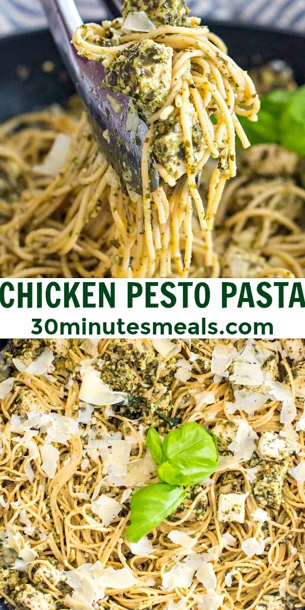 Easy Chicken Pesto Pasta pin