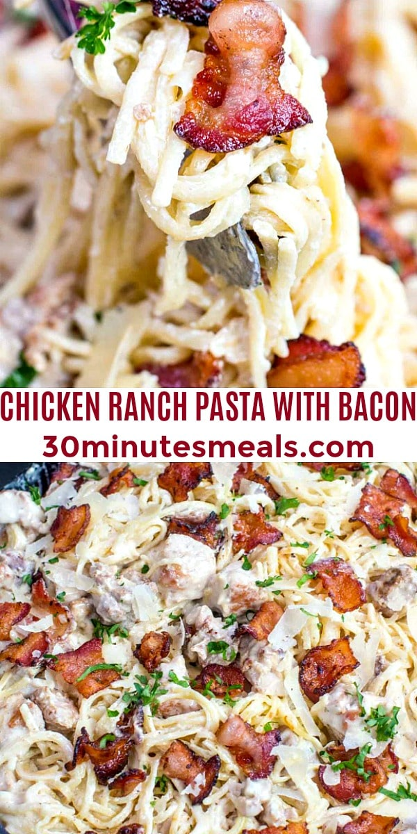 Easy Chicken Ranch Pasta with Bacon pin